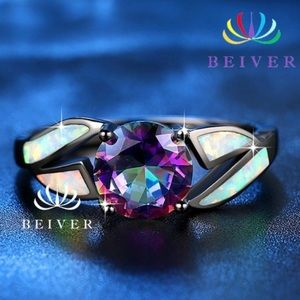 2ct. Synthetic Opal 2.4ct. Mystic Rainbow CZ Ring